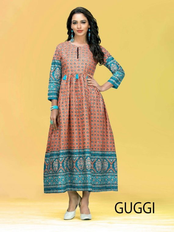 KACERY Women's long cotton printed kurti with full flare ethnic dress top tunic- k100 1
