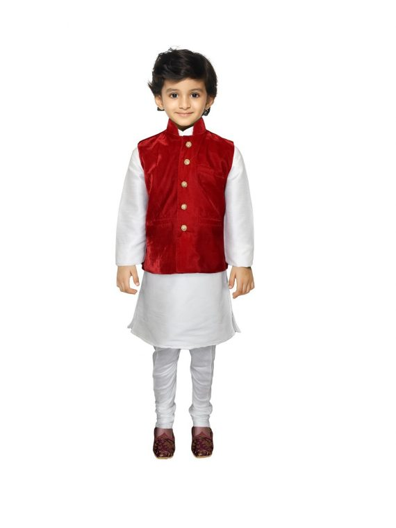 Kids Boys Indian Three Peice Kurta Pajama Traditional Jacket Suit BK110
