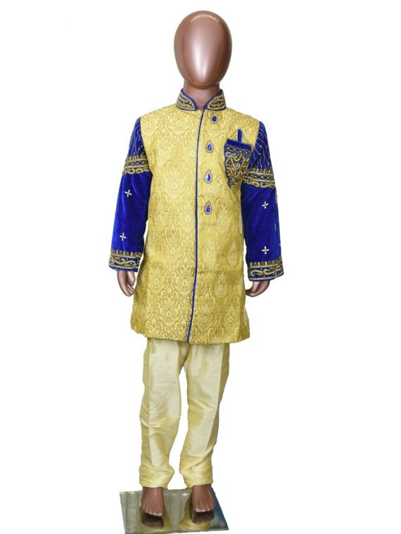 Kids Boys Gold Indo Sherwani Kurta-BS300 1