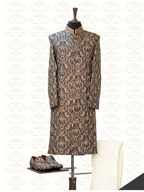 Bespoke Blue and Gold Sherwani Outfit Code: 7053 1