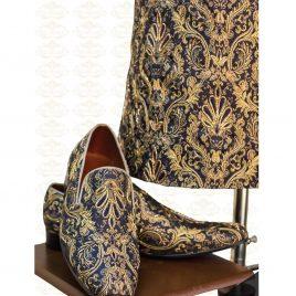 Bespoke Blue and Gold Sherwani Outfit Code: 7053