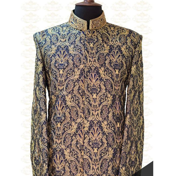 Bespoke Blue and Gold Sherwani Outfit Code: 7053