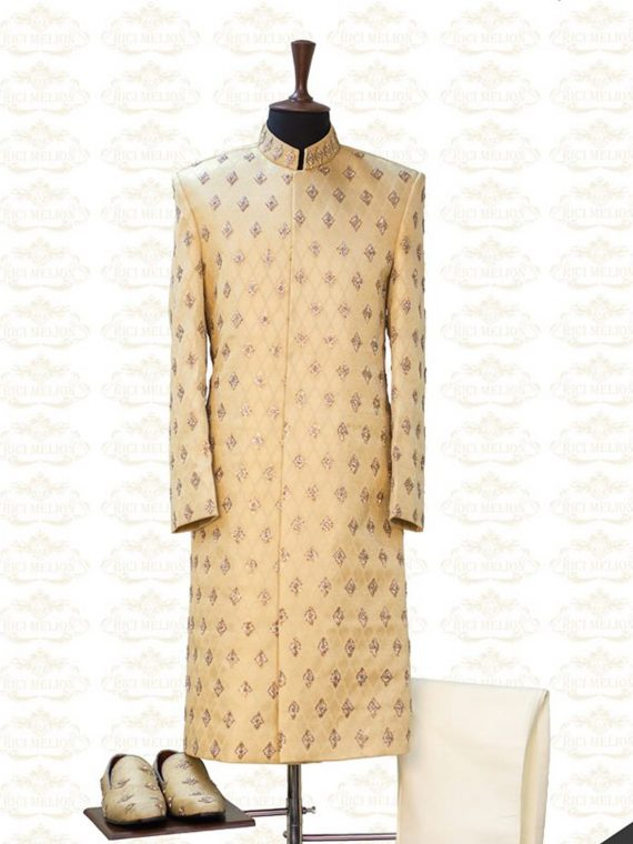 Bespoke beautiful Cream Sherwani Outfit Code: 7055 1