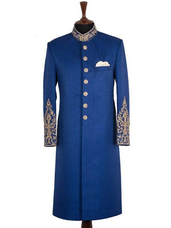 Bespoke Royal Blue Sherwani Outfit Code: 7054 1