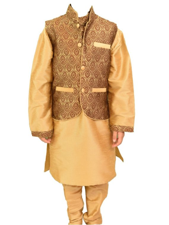 Kids Boys Brown Three Peice Kurta Pajama Jacket-BJK200 1
