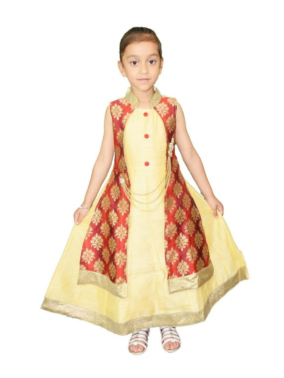 Kid Girls Gold Anarkali Frock Suit Indian Dress 1