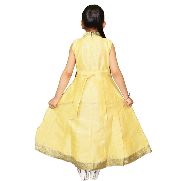 Kid Girls Gold Anarkali Frock Suit Indian Dress