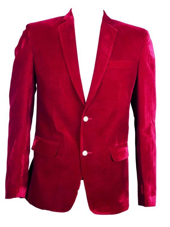 Mens Red Wedding Velvet Blazer BL02 1