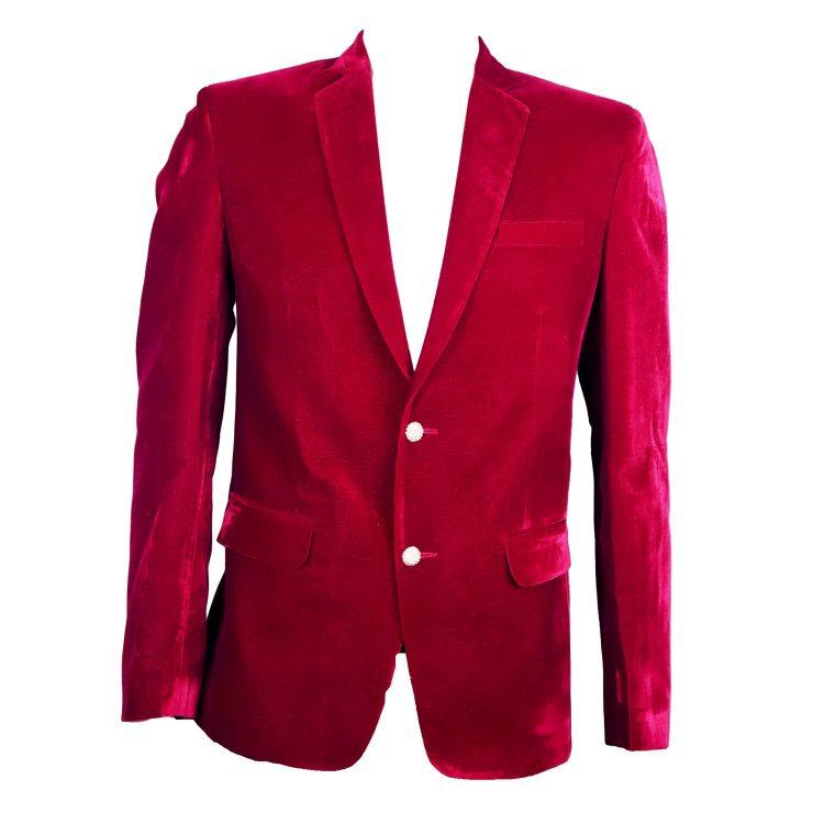 Mens Red Wedding Velvet Blazer BL02