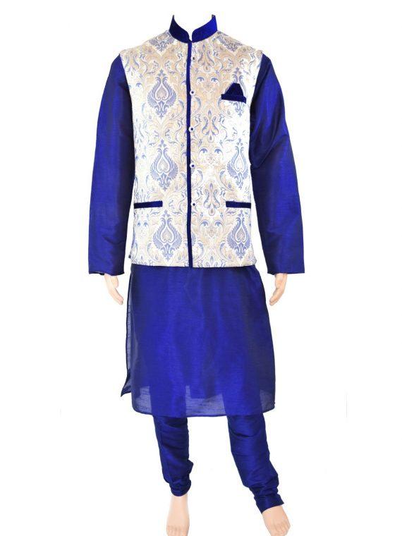 Men's Indian Kurta Pajama Jacket Three Peice Suit AN1000 1