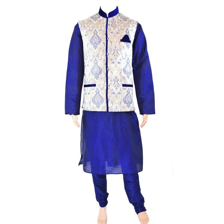 Men's Indian Kurta Pajama Jacket Three Peice Suit AN1000