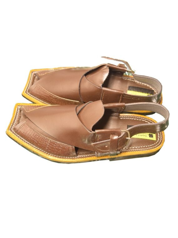 Brown Peshawari Shine Polish Sandals- J1070 1