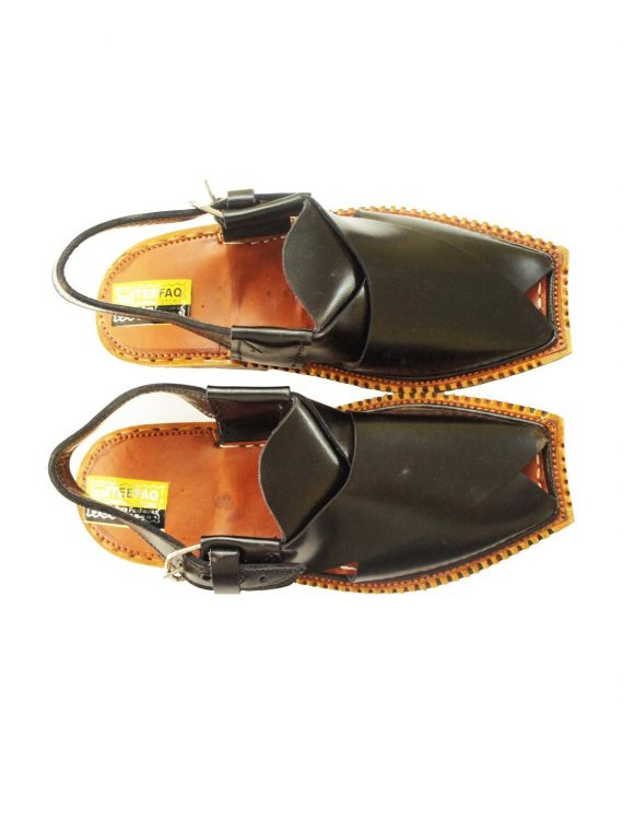 Black Peshawari Shine Polish Sandals- J108 1