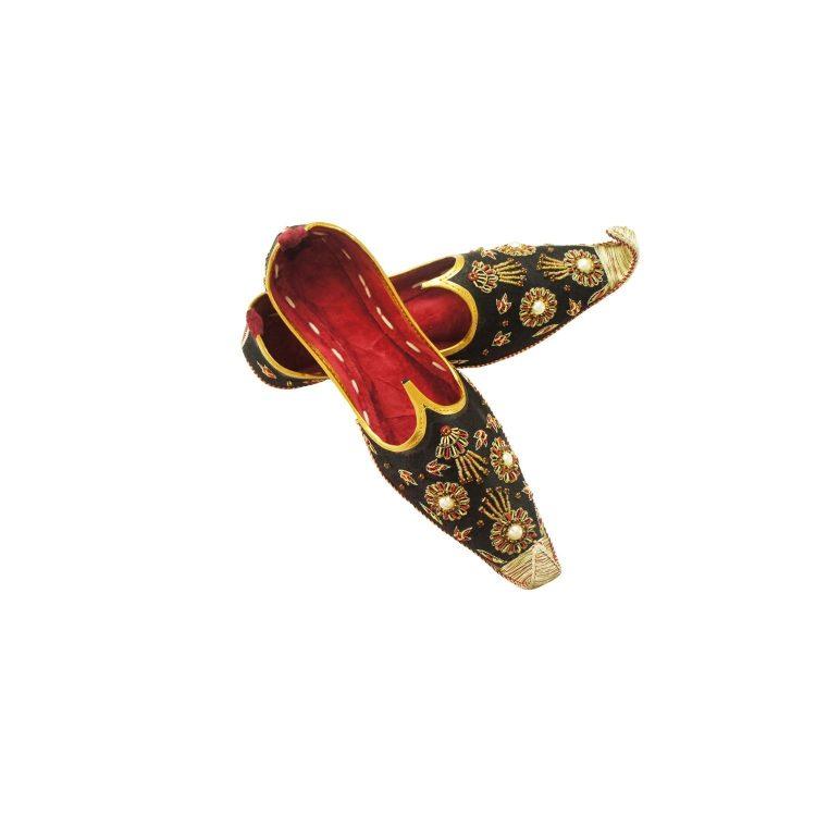 Men's Black Khussa Shoes Punjabi Jutti - J105