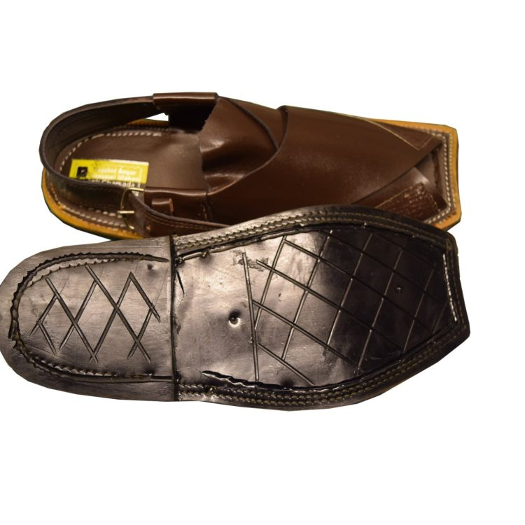 Brown Peshawari Shine Polish Sandals- J1070