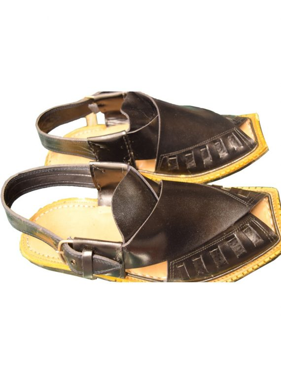 Men's Black Khussa Shoes Punjabi Jutti Slipper - J1080