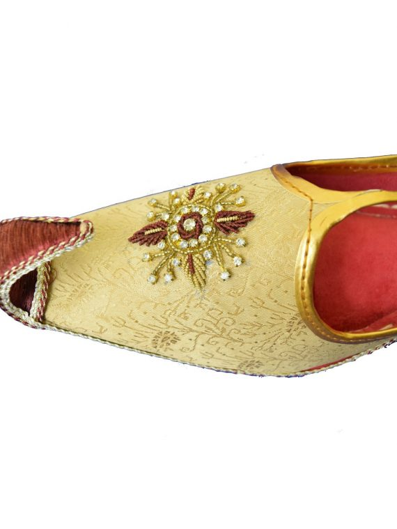 Men's Gold Khussa Shoes Punjabi Jutti - J117 …