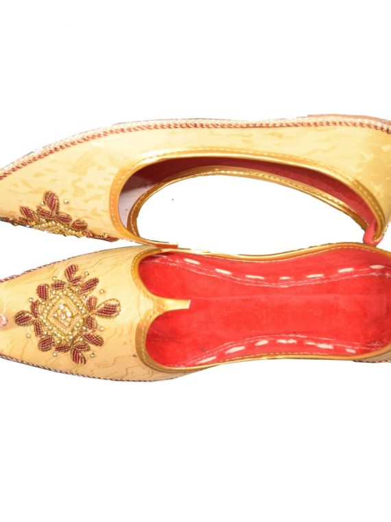 Men's Gold Khussa Shoes Punjabi Jutti-J120