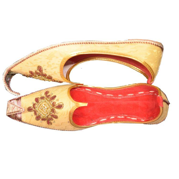 Men's Gold Khussa Shoes Punjabi Jutti-J120