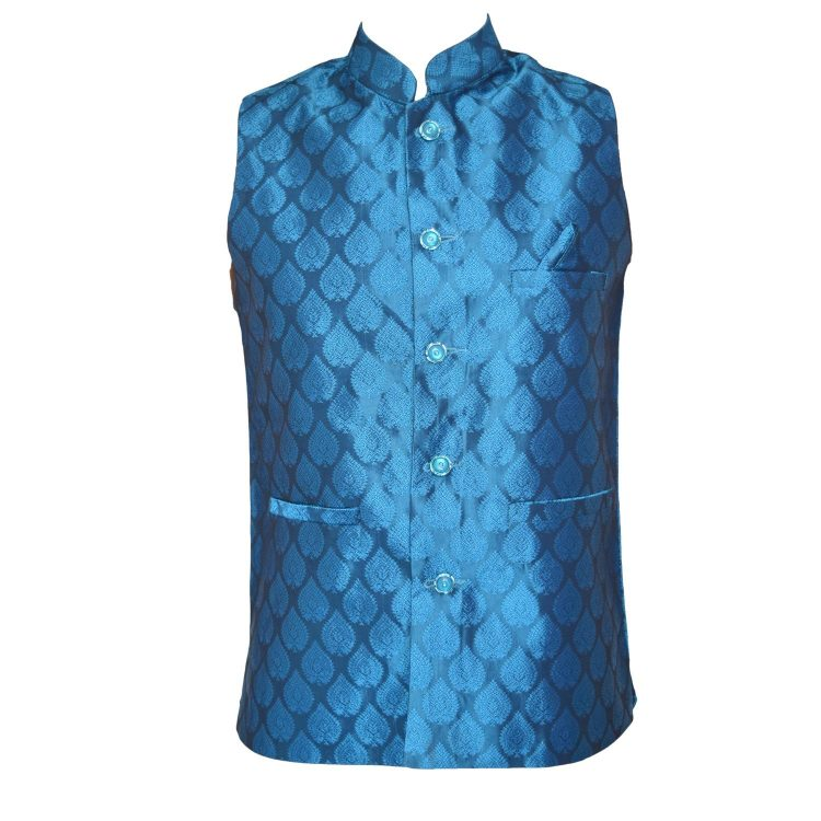 Men's Indian Blue Silk Nehru Waistcoat Modi Ethnic Jacket-JA1081
