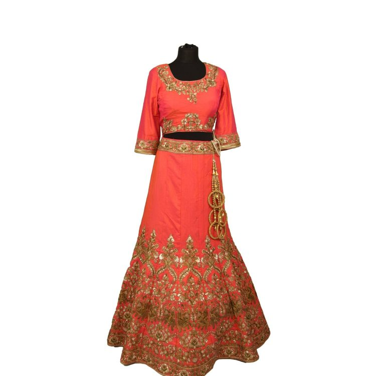 bridal pink silkan lehenga choli with duppata L002