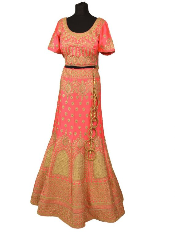 bridal pink silkan lehenga choli with duppata L003 1