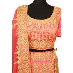 bridal pink silkan lehenga choli with duppata L003