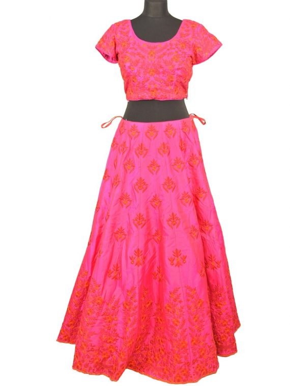 bridal pink silkan lehenga choli with duppata L004….