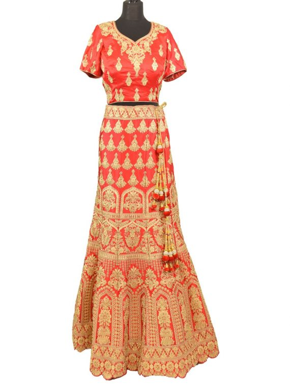 bridal red silkan lehenga choli with duppata L005….