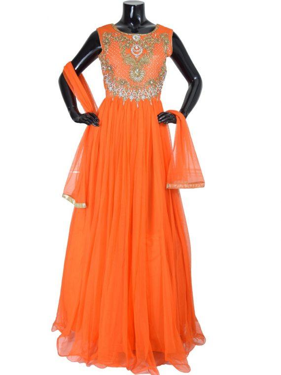 Indian Designer Orange Floor Length Anarkali Suit Gown-AK117 1