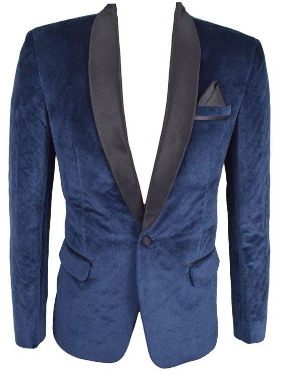 Mens Violet Blue Wedding Velvet Blazer BL03 1