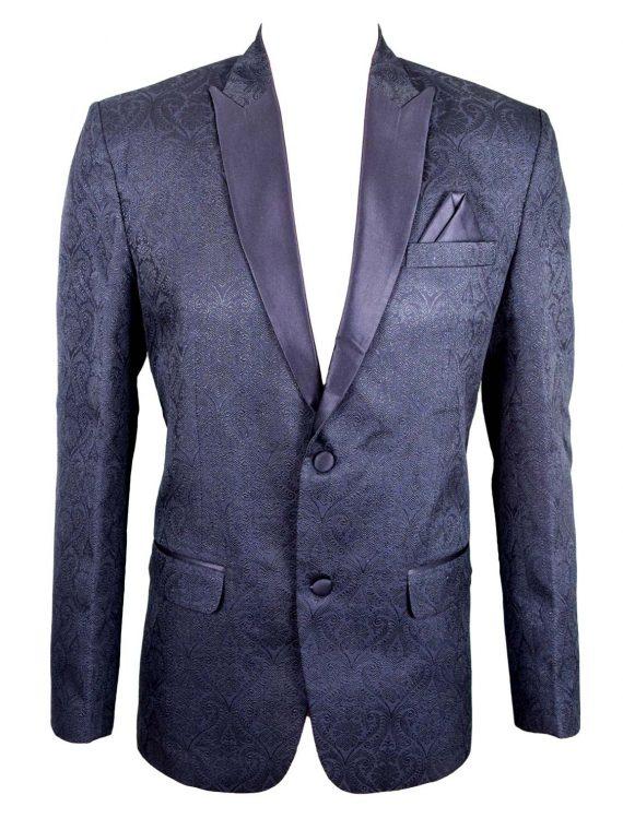 Mens Black Wedding Jacquard Blazer BL01 1