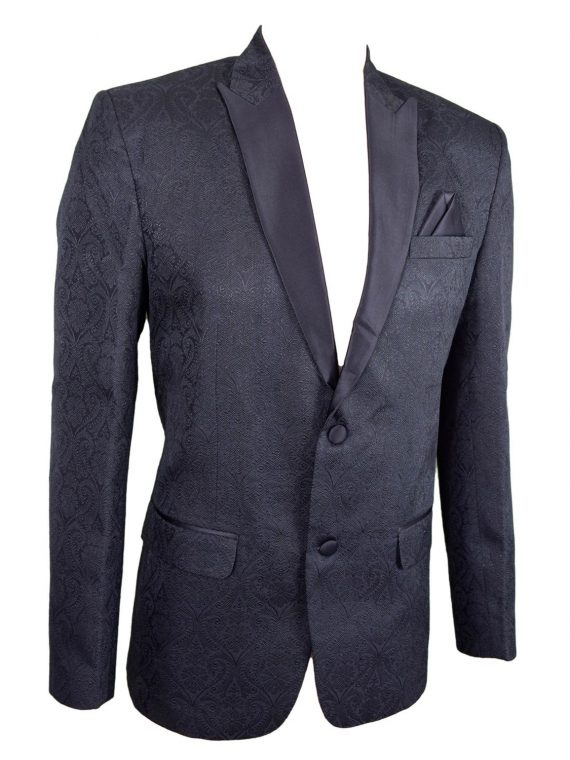 Mens Black Wedding Jacquard Blazer BL01