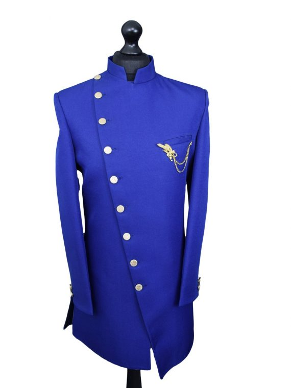 Indian Men's Sober blue sherwani indo
