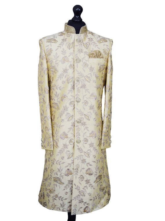 Luxurious embroidered beige sherwani