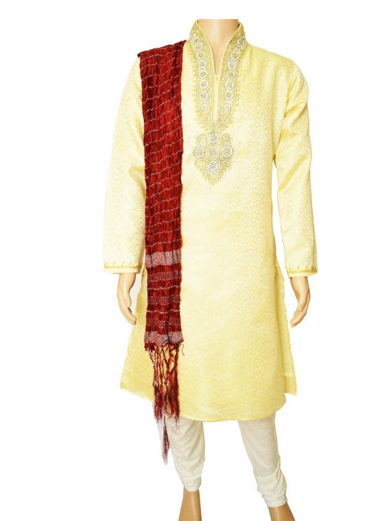 Men's Gold Jacquard Ethnic Indian Traditional Top Kurta Pajama-GR1021 1