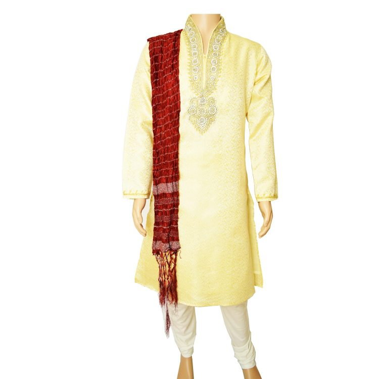 Men's Gold Jacquard Ethnic Indian Traditional Top Kurta Pajama-GR1021