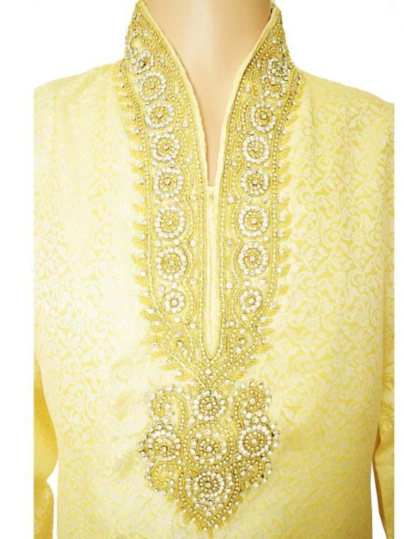 Men's Gold Jacquard Ethnic Indian Traditional Top Kurta Pajama-GR1021