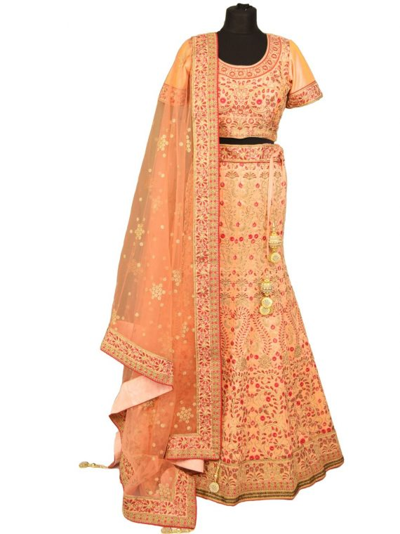 bridal Peach banglori silk lehenga with choli L001…