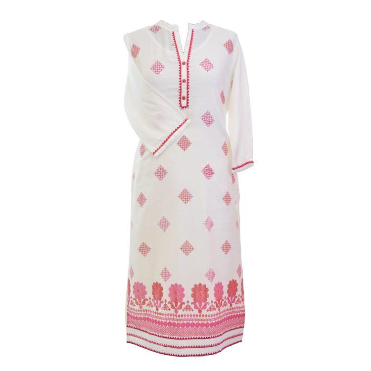 Women Casual Indian Pink Long Kurti