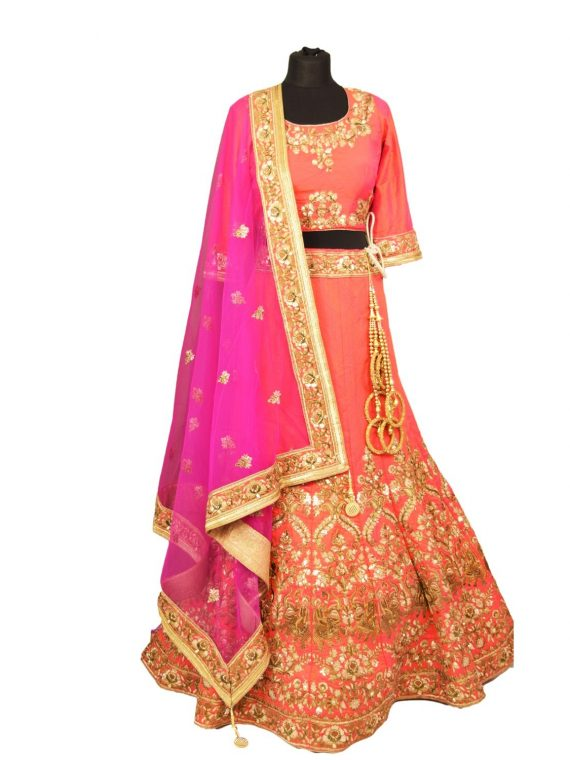bridal pink silkan lehenga choli with duppata L002 1