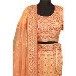 bridal Peach banglori silk lehenga with choli L001....