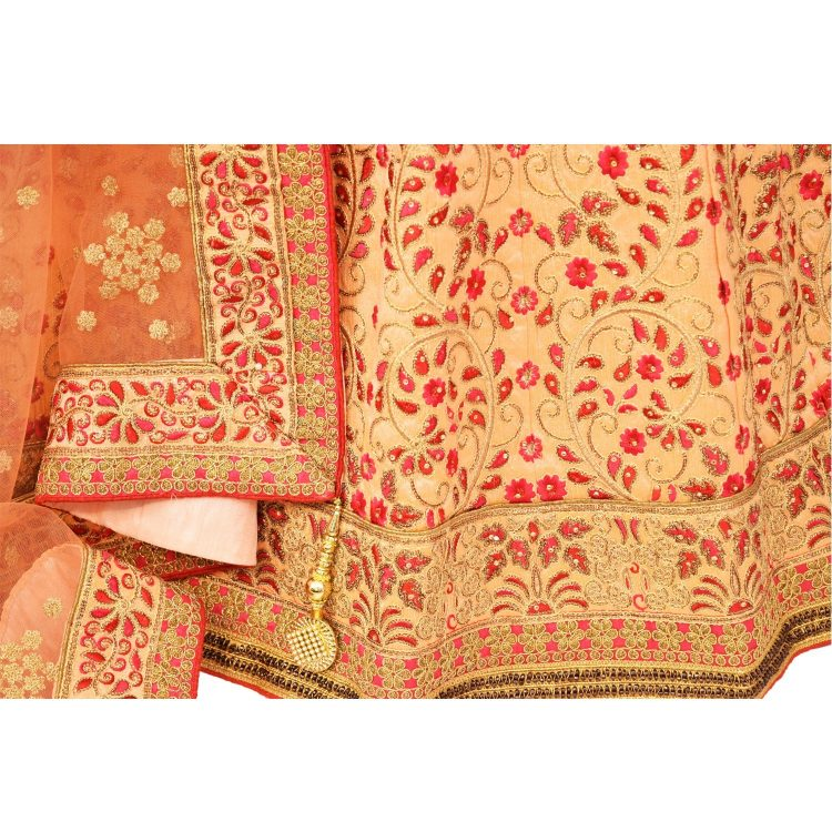 bridal Peach banglori silk lehenga with choli L001....