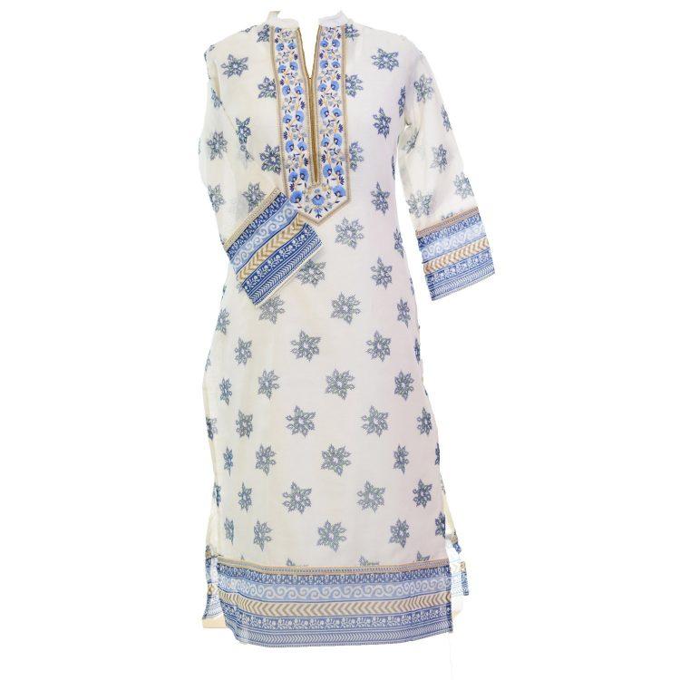Women Casual Indian Blue Long Kurti