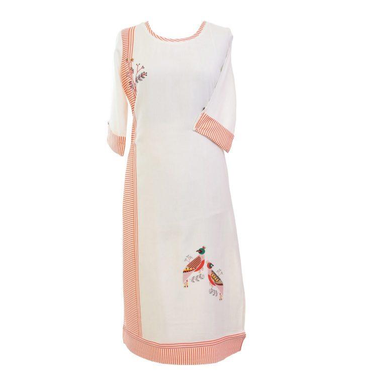 Women Casual Indian Orange Long Kurti