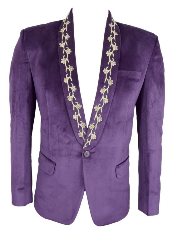 Mens Purple Wedding Velvet Blazer BL05 1