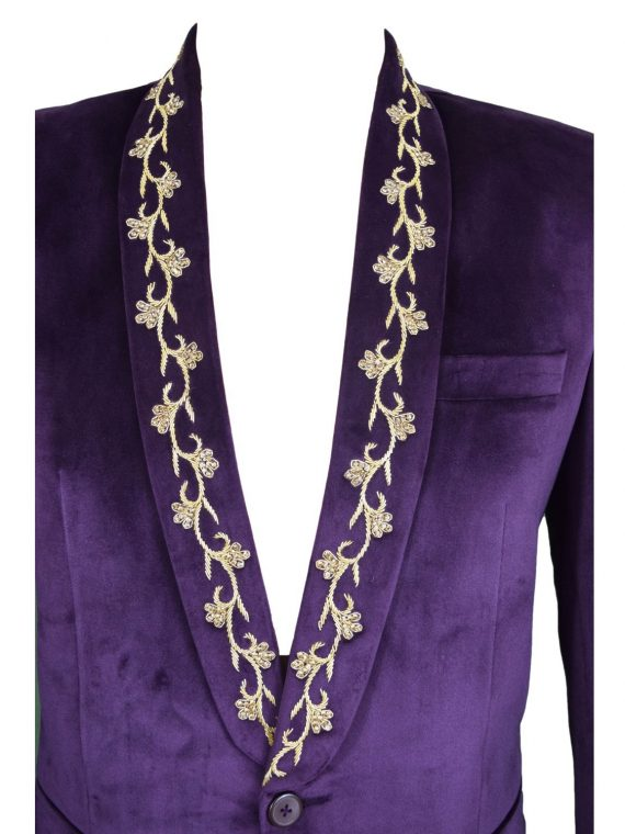 Mens Purple Wedding Velvet Blazer BL05