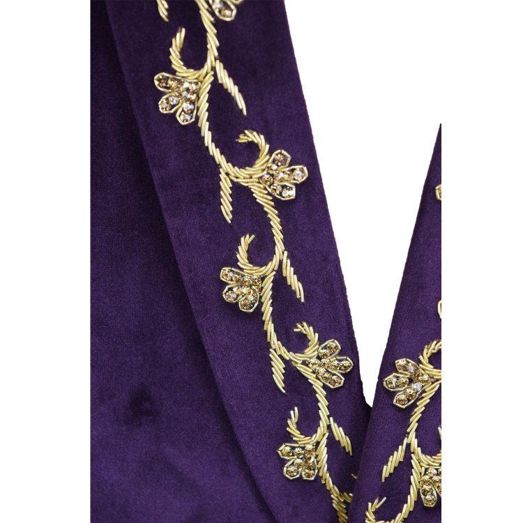 Mens Purple Wedding Velvet Blazer BL05