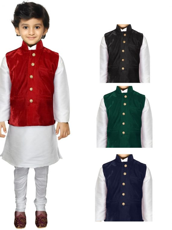 Kids Boys Indian Three Peice Kurta Pajama Traditional Jacket Suit BK110 1