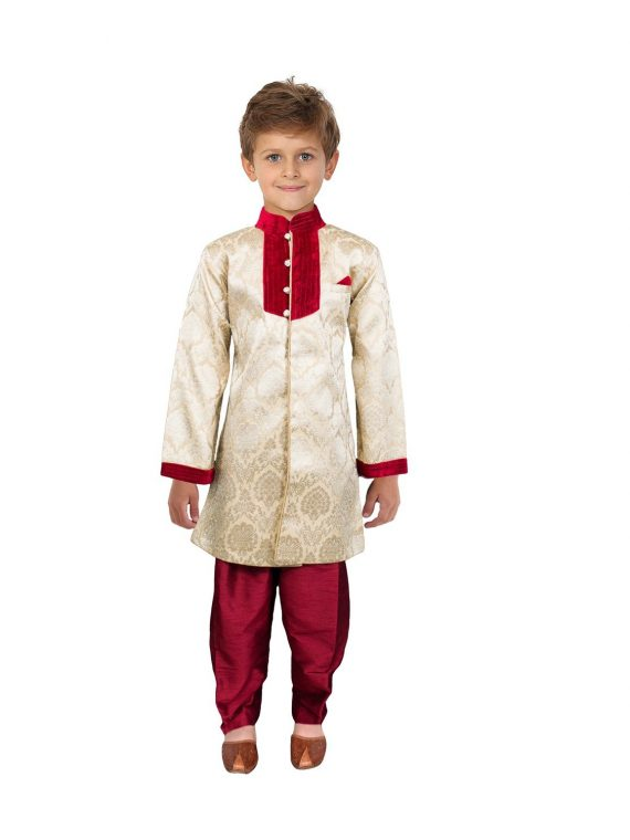 Kids Boys Gold Indo Sherwani Kurta BS202 1